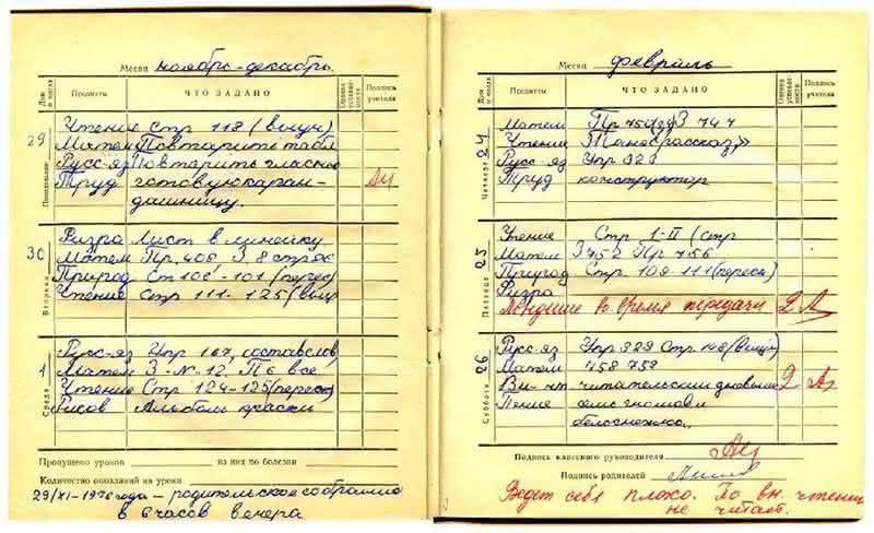 дневник личная страница ученика