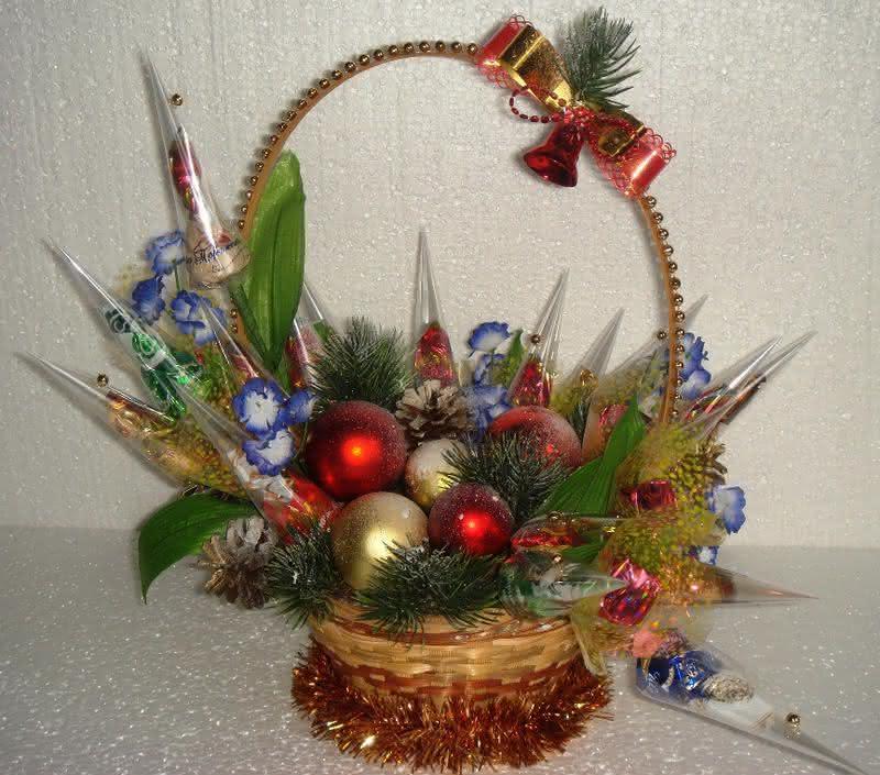 Какие поделки из конфет, вафель можно сделать своими руками на Новый год?