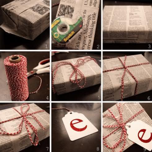 Красиво упаковать коробку с подарком газетой 24